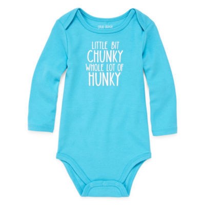 "Okie Dokie ""Little Bit Chunky, Whole Lot of Hunky"" Long Sleeve Slogan Bodysuit - Baby Boy NB-24M"
