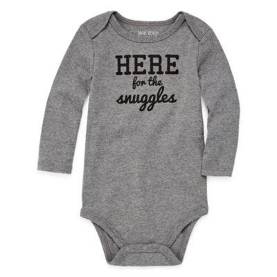 "Okie Dokie ""Here for the Snuggles"" Long Sleeve Slogan Bodysuit - Baby NB-24M"