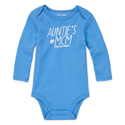 "Okie Dokie ""Auntie's Man Crush Monday"" Long Sleeve Slogan Bodysuit - Baby Boy NB-24M"