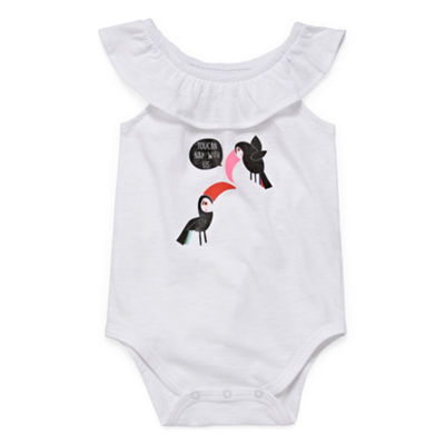 Okie Dokie Ruffle Neck Sleeveless Bodysuit - Baby Girl NB-24M