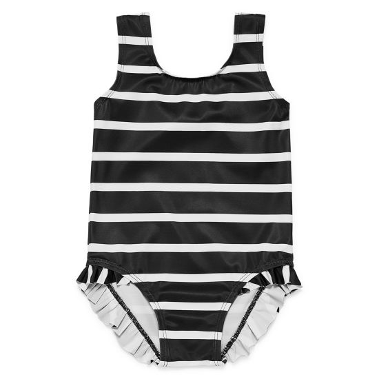 City Streets Stripe Ruffle One Piece Swimsuit - Baby Girl NB-24M