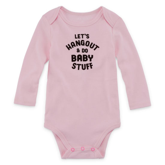 "Okie Dokie ""Let's Hang Out and Do Baby Stuff"" Long Sleeve Slogan Bodysuit - Baby Girl NB-24M"