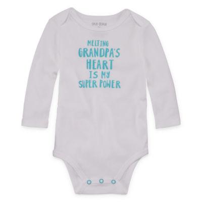 "Okie Dokie ""Melting Grandpa's Heart"" Long Sleeve Slogan Bodysuit - Baby NB-24M"