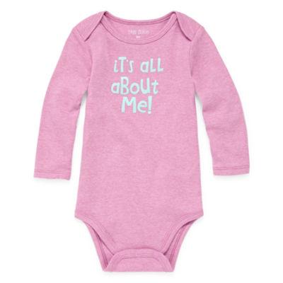 "Okie Dokie ""It's all about me!"" Long Sleeve Slogan Bodysuit - Baby Girl NB-24M"
