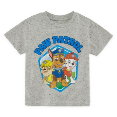 Boys Round Neck Short Sleeve Applique Paw Patrol Graphic T-Shirt-Toddler