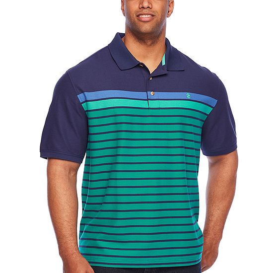 IZOD Big and Tall Advantage Performance Engineered Stripe Polo Mens Short Sleeve Polo Shirt