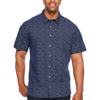 Jmco Short Sleeve Floral Button-Front Shirt-Big and Tall