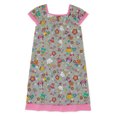 Disney Girls Knit Nightshirt Minnie Mouse Short Sleeve Square Neck