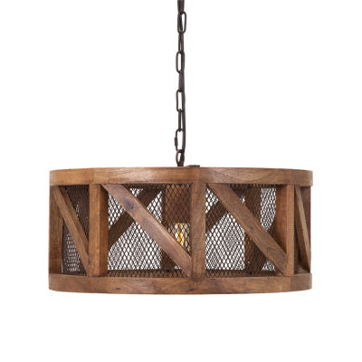 IMAX Worldwide Home Kennedy Wood and Wire Pendant Light