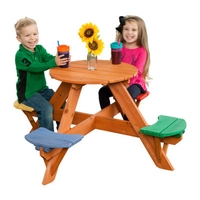 Creative Cedar Designs Kids Round Wooden Picnic Table- Multicolor Seats