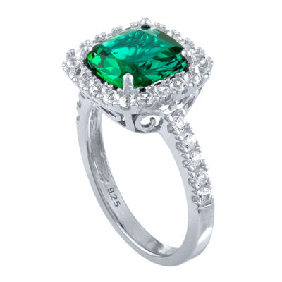 Lab-Created Green Emerald & Lab-Created White Sapphire Sterling Silver Cocktail Ring