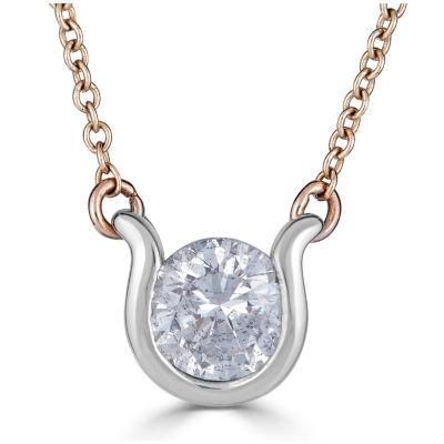 Womens 1/2 CT. T.W. White Diamond 14K White Gold Round Pendant Necklace