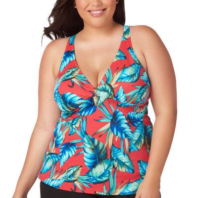St. John's Bay Leaf Tankini Swimsuit Top-Plus