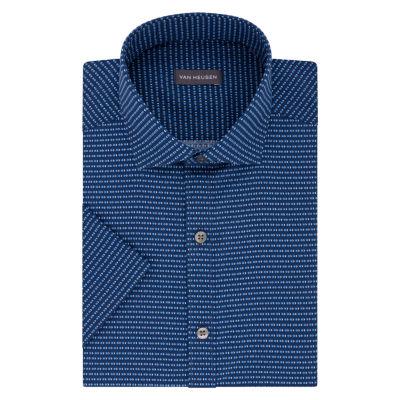 Van Heusen Short Sleeve Poplin Pattern Dress Shirt