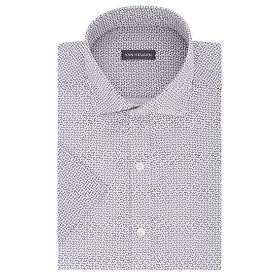 Van Heusen Mens Spread Collar Short Sleeve Wrinkle Free Dress Shirt