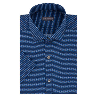 Van Heusen Short Sleeve Poplin Pattern Dress Shirt - Slim