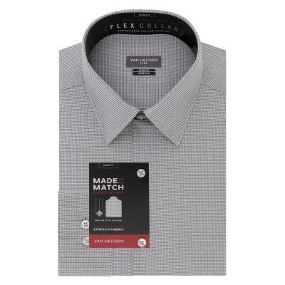 Van Heusen Made To Match Mens Point Collar Long Sleeve Stretch Dress Shirt - Slim