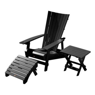 Highwood® Manhattan Beach Adirondack Chair With Wine Glass Holder With Folding  Adirondack Side Table U0026