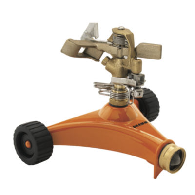 Dramm 10-15032 Orange Impulse Sprinkler With HeavyDuty Metal Wheeled Base