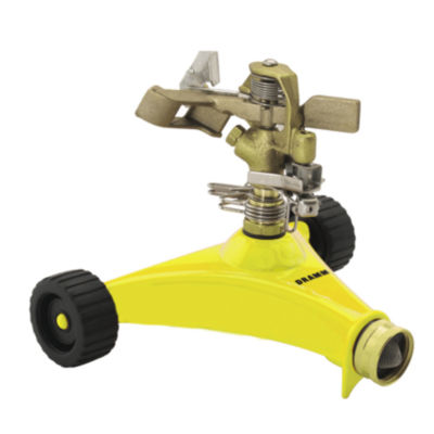 Dramm 10-15033 Yellow Impulse Sprinkler With HeavyDuty Metal Wheeled Base