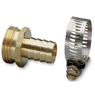 "Nelson 50450 5/8"" Brass & Worm Gear Clamp Male Hose Repair"""