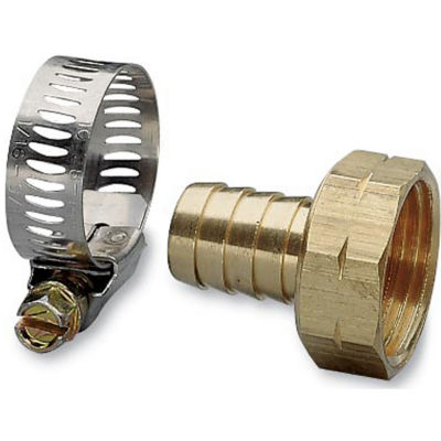 "Nelson 50451 5/8"" Female Brass Hose Repair With Worm Gear Clamp"""