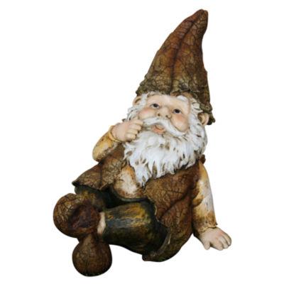 """Alpine Corporation GXT698 10"""" Rainforest Sitting Gnome Garden Statue"""""""