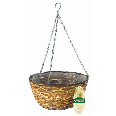 "Gardman R486 14"" Lattice Rattan Hanging Basket"""