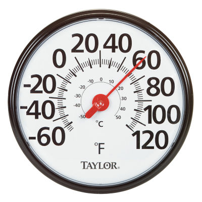 "Taylor 6700 13-1/4"" Black & White Big & Bold Dial Thermometer"
