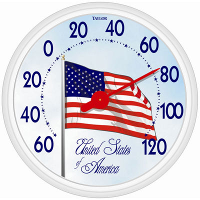 "Taylor 6729 13-1/4"" American Flag Thermometer"