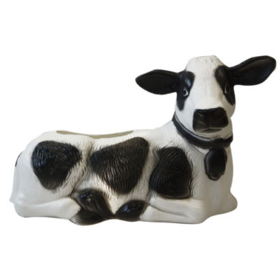 "Union Products 53350 7"" X 4"" Black & White Cow Planter"""
