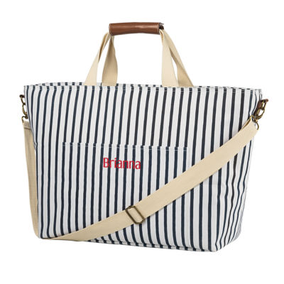 Cathys Concepts Personalized Large Striped Cooler Tote