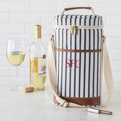Cathys Concepts Personalized Striped Wine Cooler