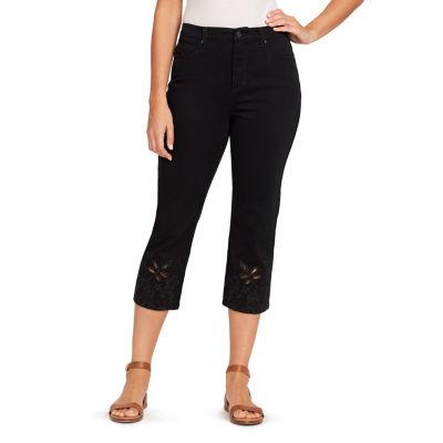 Gloria Vanderbilt® Straight Leg Amanda Lace Hem Cutout Capri