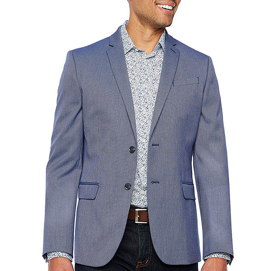 JF J.Ferrar Resort Stretch Bright Blue Classic Fit Sport Coat - Big and Tall