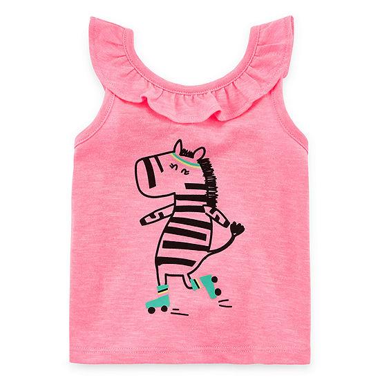 Okie Dokie Girls Round Neck Sleeveless Graphic T-Shirt - Baby