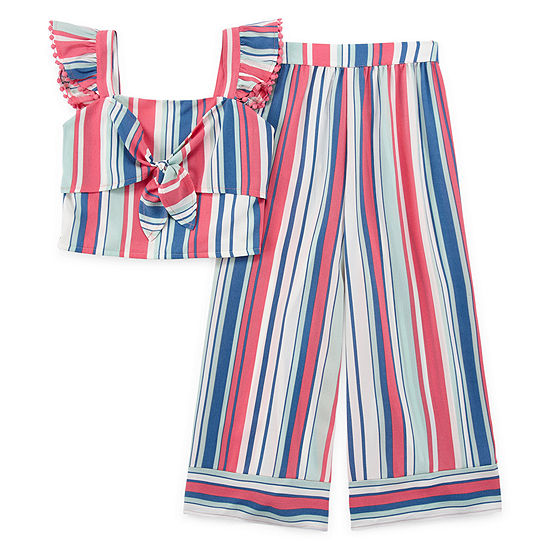 Knit Works Girls 2-pc. Striped Pant Set Big Kid