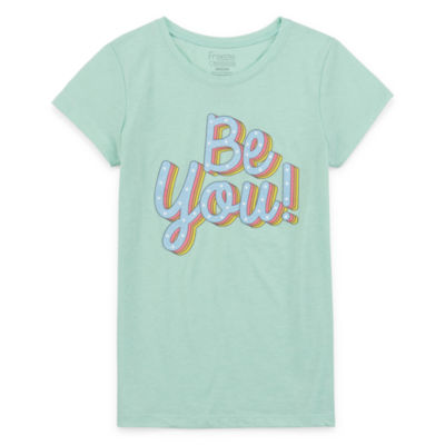 Girls Crew Neck Short Sleeve Graphic T-Shirt-Big Kid