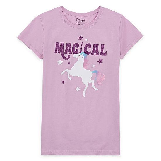 Girls Crew Neck Short Sleeve Graphic T-Shirt - Big Kid