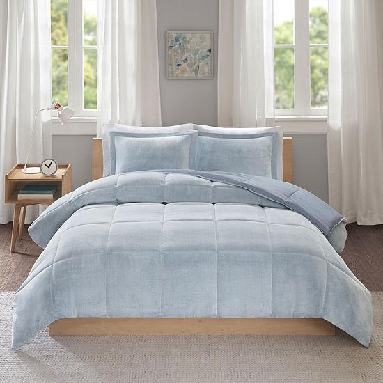 Intelligent Design Carson Frosted Print Plush to Heathered Microfiber Down Alternative Reversible Comforter Set
