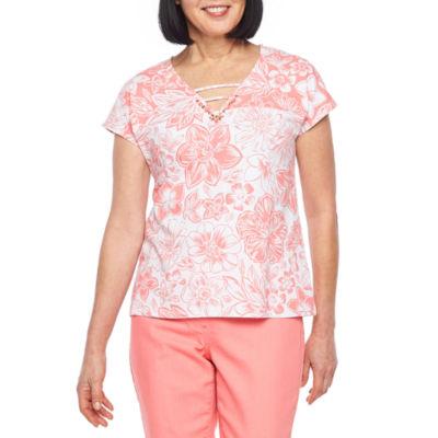 Hearts Of Palm Blush Strokes-Womens V Neck Short Sleeve T-Shirt