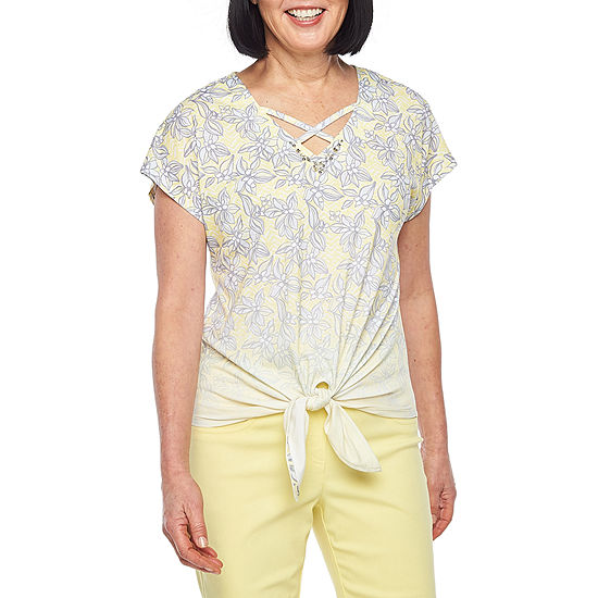 Hearts Of Palm Sunny Side Up-Womens V Neck Short Sleeve T-Shirt