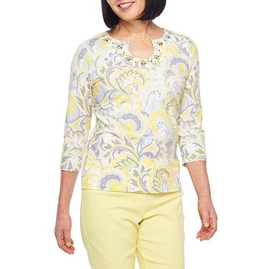 Hearts Of Palm Sunny Side Up-Womens Keyhole Neck 3/4 Sleeve T-Shirt
