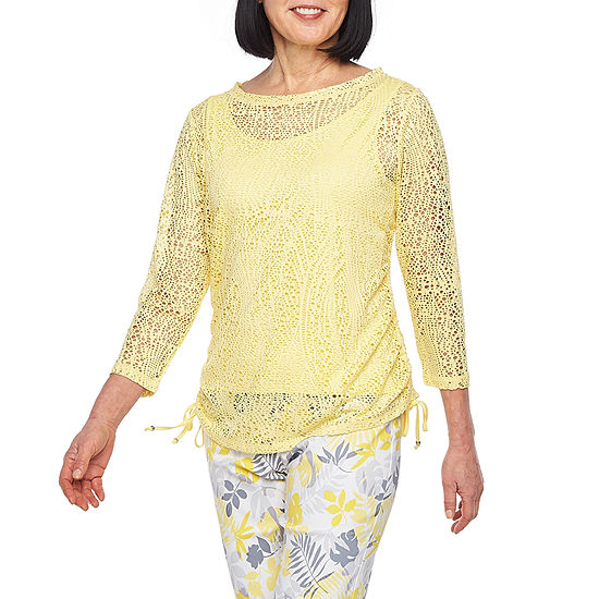 Hearts Of Palm Sunny Side Up-Womens Boat Neck 3/4 Sleeve T-Shirt
