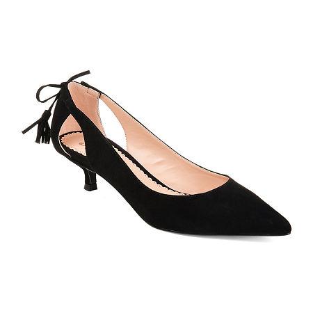 1950s Style Shoes   Heels, Flats, Boots Journee Collection Womens Bindi Slip-on Pointed Toe Kitten Heel Pumps 10 Medium Black $55.99 AT vintagedancer.com