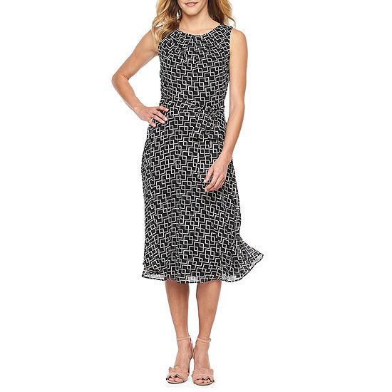 R K Originals Sleeveless Geometric Fit Flare Dress