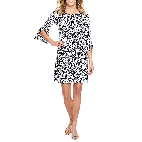 MSK 3/4 Split Sleeve Floral Puff Print Shift Dress