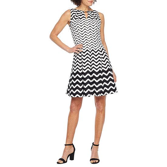 Danny & Nicole Sleeveless Chevron Fit & Flare Dress