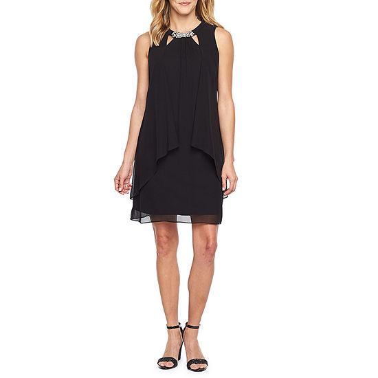 S L Fashions Sleeveless Beaded Shift Dress