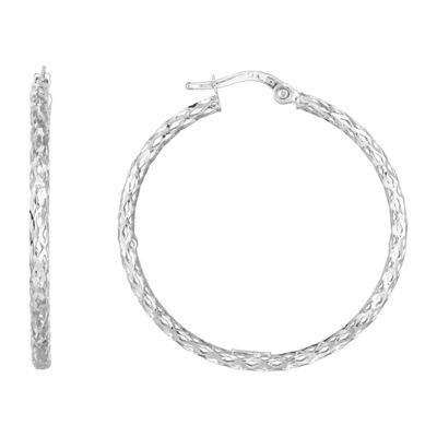 14K White Gold 33.1mm Hoop Earrings
